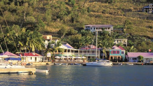 Caribbean, British Virgin Islands, Tortolla, Harbor With Boats And Colorful Houses.