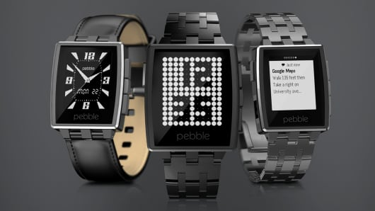 Pebble Steel smartwatches.