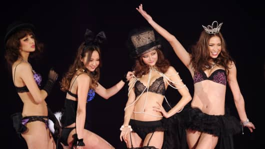 Models display lingerie creations from the Ravijour spring/summer collection on March 5, 2011.