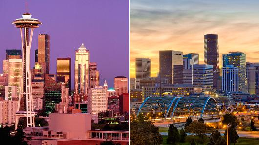 Seattle and Denver
