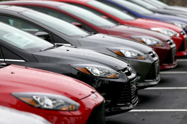 Ford Focus cars are seen on the sales lot at AutoNation Ford Miami in North Miami, Florida.