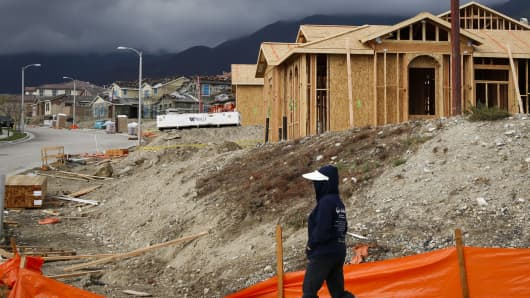 Houses under construction in Rancho Cucamonga, Calif.