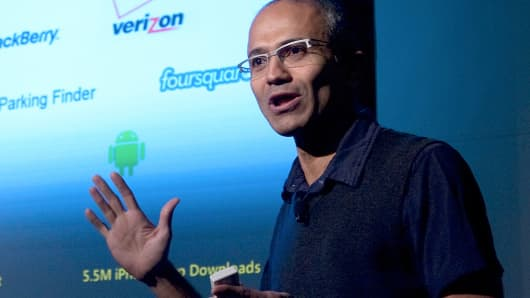 Satya Nadella speaks during a Microsoft Search Summit event in San Francisco, California, Dec. 15, 2010.