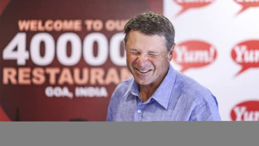 David C. Novak, chief executive officer of Yum! Brands Inc., reacts during an interview after the opening of the company's new KFC restaurant in Calangute, Goa, India.