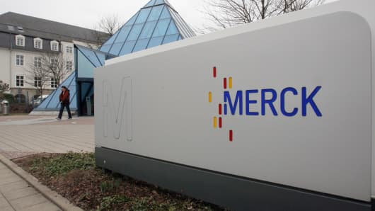 The Merck KGaA logo sits outside the company's headquarters in Darmstadt, Germany.
