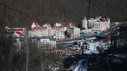 A general view of Rosa Khutor Mountain village cluster is seen from a cable car prior to the Sochi 2014 Winter Olympics on February 3, 2014 in Sochi, Russia.
