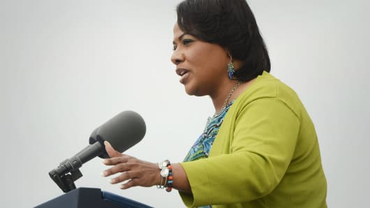 Bernice King, daughter of late Dr. Martin Luther King Jr., delivers remarks during the 'Let Freedom Ring' commemoration event, at the Lincoln Memorial August 28, 2013 in Washington.
