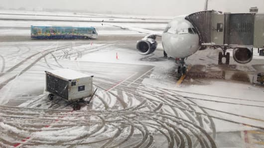 Philadelphia International Airport, which had many canceled flights Monday