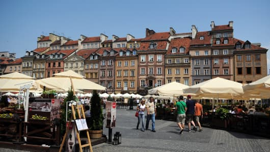 A market in the center of Warsaw, Poland.