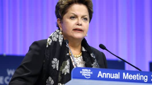 Dilma Rousseff, Brazil's president, speaks at the World Economic Forum in Davos, Switzerland, Friday, Jan. 24, 2014.