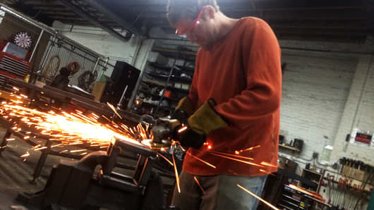 Student Brian Jacobson at a welding workshop at Total Metal Resource in Brooklyn, N.Y.