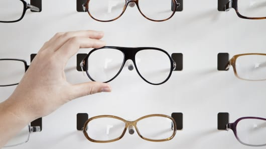 A file picture of eyeglasses on display.