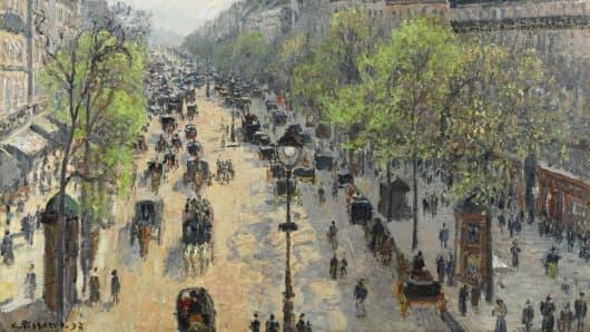 """Detail of """"Le Boulevard Montmartre, Matinee de Printemps"""" by Camille Pissarro"""