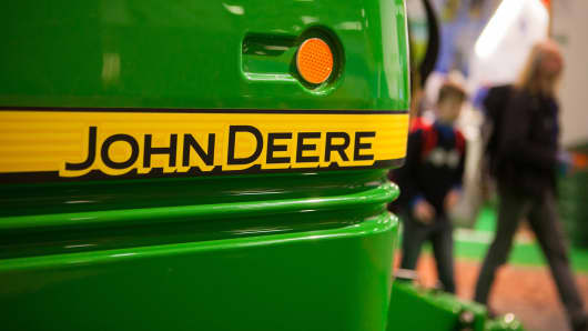 A John Deere R962i trailer crop sprayer, manufactured by Deere & Co., stands on display at the Green Week agricultural trade fair at the Messe Berlin exhibition center on Jan. 26, 2014.