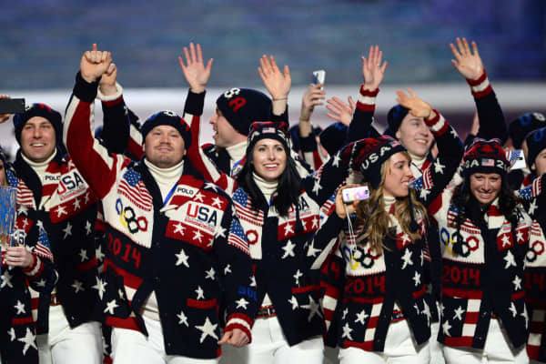 The US delegation parades during the Opening Ceremony of the 2014 Sochi Winter Olympics at the Fisht Olympic Stadium on February 7, 2014 in Sochi.