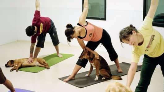 Yoga class at Barking Buddha.