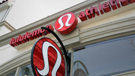 A sign is displayed on a Lululemon Athletica Inc. store in Pasadena, Californi