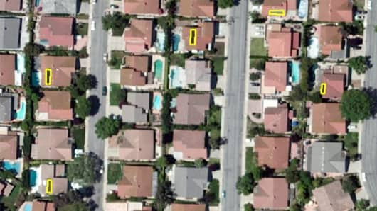 Using spectral imagery, Haystaq can identify homes in Orange County, Calif., with solar panels (in yellow).