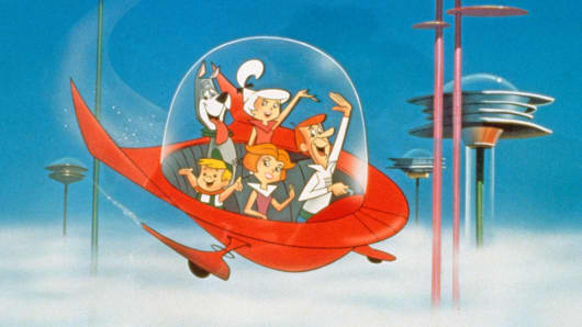 """The Jetsons"" bop around Orbit City, circa 1962."