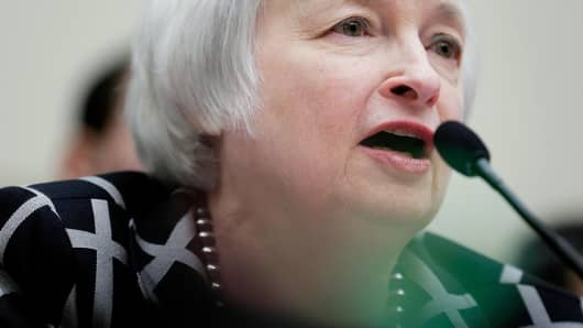 Janet Yellen, the new Federal Reserve Board chairwoman, appears before the House Financial Services Committee on February 11, 2014 in Washington.