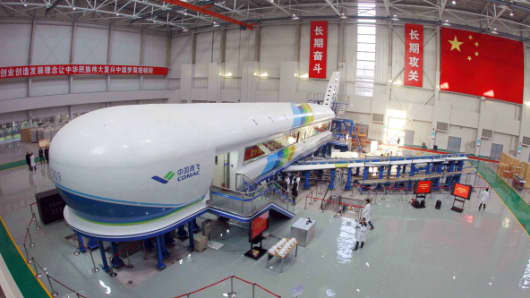 The 'iron bird' test platform, a plane-like fuselage simulator, for the C919