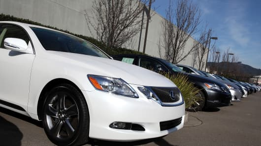 A GS350 is displayed Jan. 26, 2011, at Lexus of Marin in San Rafael, Calif.