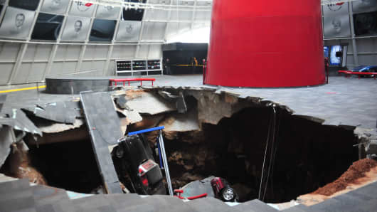 GM corvettes of sinkhole swallowed restore