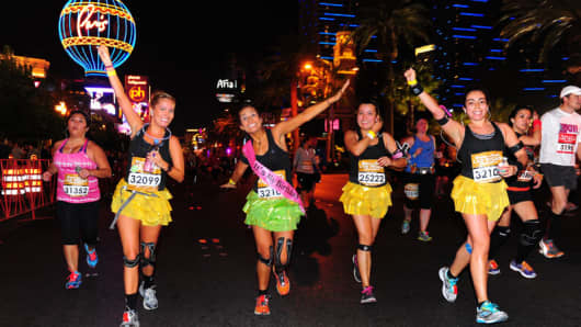 Runners participate in a marathon in Las Vegas as more hotels cater to the running crowds.