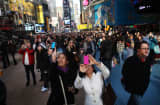 Tourists flood Times Square in New York.