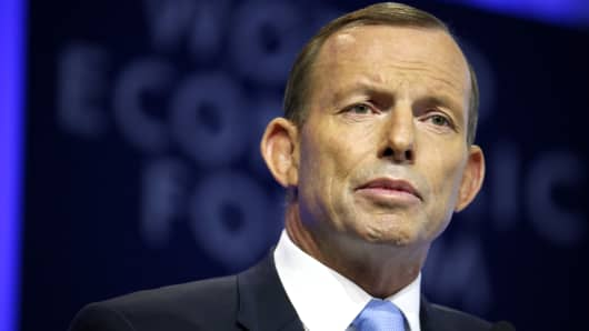 Tony Abbott, Australia's prime minister, speaks during a session on day two of the World Economic Forum (WEF) in Davos, Switzerland, on Thursday, Jan. 23, 2014.