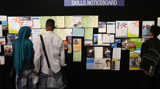 Job seekers at a jobs and skills expo run by the Australian government in Melbourne, Australia.