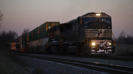 A file photo of a Norfolk Southern freight train.