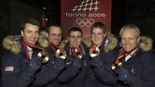 From left: Pete Fenson, Shawn Rojeski, Joseph Polo, John Shuster, and Scott Baird, members of the 2006 US Olympic curling squad.