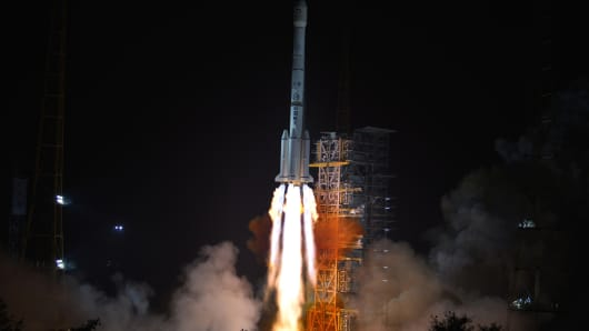 A Long March-3B carrier rocket carrying China's Chang'e-3 lunar probe takes off from the Xichang Satellite Launch Center on December 2, 2013 in Xichang, China.