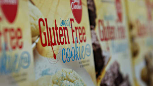 'Gluten Free' appears on the packaging for General Mills Inc. Betty Crocker brand cookie mix displayed for sale at a supermarket in Princeton, Illinois.