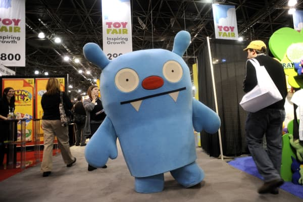 A life-size Uglydoll walks the floor of the annual Toy Fair.
