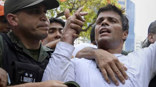 Leopoldo Lopez is escorted by the National Guard after turning himself in, during a demonstration in Caracas on Feb. 18, 2014.