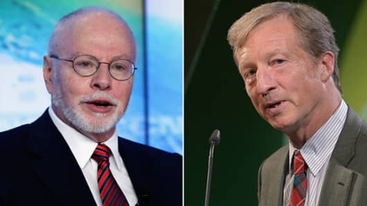 From left: Paul Singer and Tom Steyer