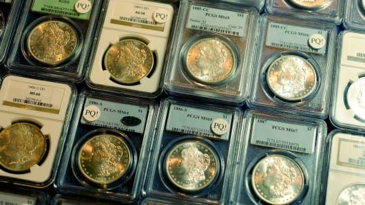 American silver dollar coins