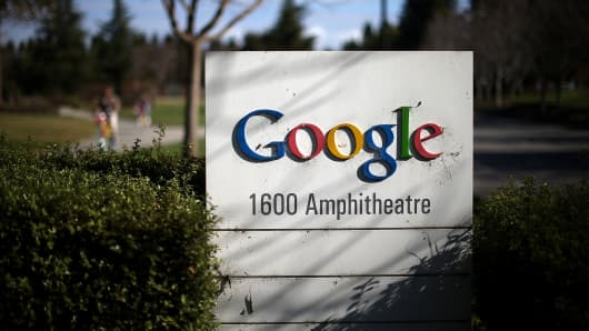 A sign is posted outside of Google headquarters in Mountain View, California.