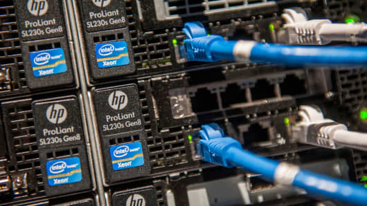 Ports on a storage and server tower are displayed during the HP Discover 2013 conference in Las Vegas.