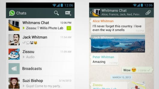 WhatsApp screens for Android