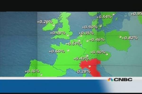 EU shares close up for third week