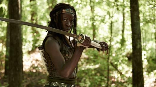Danai Gurira plays Michonne on The Walking Dead.