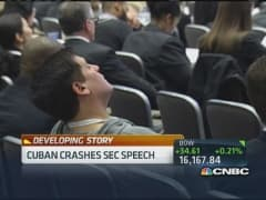 Cuban crashes SEC speech