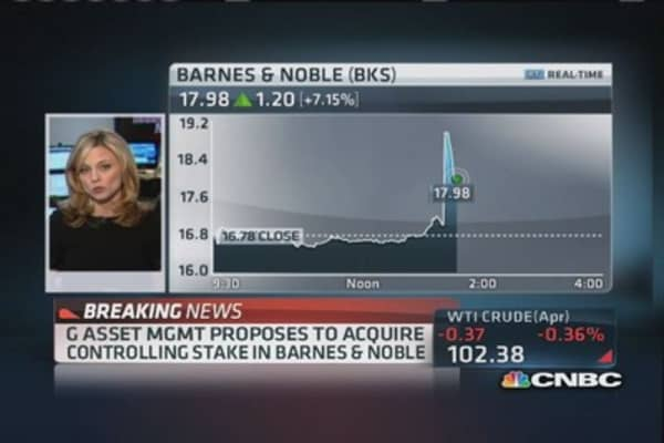 Barnes & Noble spikes on acquisition proposal