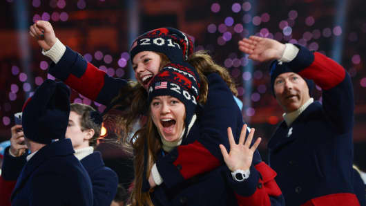 U.S. athletes parade during the closing ceremony of the Sochi Winter Olympics.