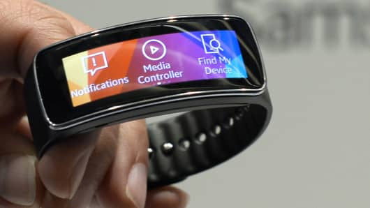 Samsung Galaxy Gear Fit is presented during the 2014 Mobile World Congress in Barcelona on February 23, 2014.