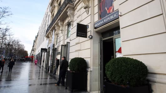 A Banana Republic store on the Champs-Elysees in Paris.