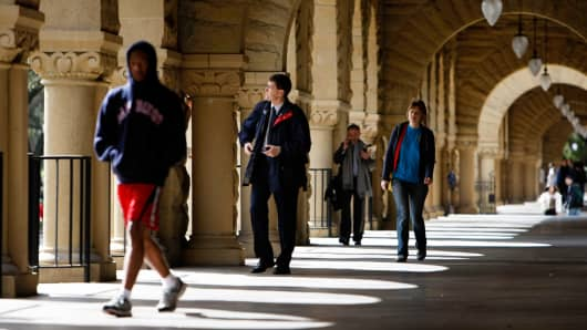 Students at the Stanford University campus